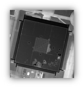 IR aerial image with evidence of moisture under roof surface