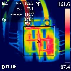 Thermal anomaly at main breaker; thermal anomaly behind breaker cluster