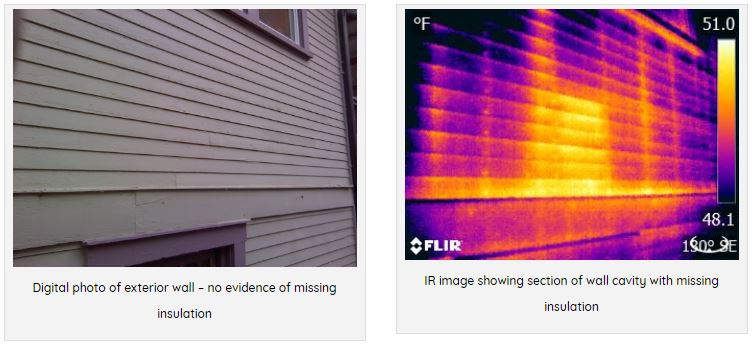 Thermal imaging shows missing piece of Insulation