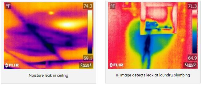 Infrared image showing Moisture leakage spots