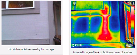 Thermal imaging Detects where water is leaving moisture by window